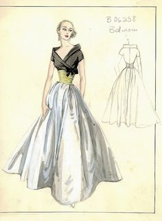Balmain Haute Couture fashion illustration. Evening gown matching black color off shoulder top with tied at the side, gold color waist with a white color ball gown full skirt. Includes back views in pencil. Bergdorf Goodman 1950s #Collection #Balmain #Fashion