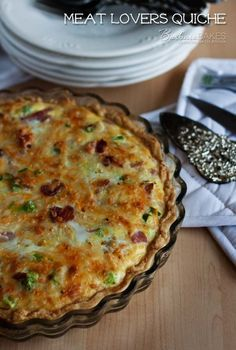 Meat Lovers Quiche Recipe ~ Quiche loaded with ham, bacon, sausage and cheese in a tender, flaky crust. A perfect breakfast, lunch or dinner any day of the week