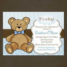 Teddy Bear Baby Shower Invitation Printable by PinkSkyPrintables