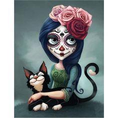 Sugar Skull Artwork, Catrina Tattoo, Sugar Skull Girl, Sugar Skulls, Arte Fashion, Day Of The Dead Art, Diamond Drawing, Sugar Skull Tattoos, Image Originale