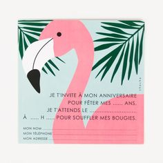 Invitations to send to all your friends and invite them to your tropical or flamingo-themed party. Invitation Fete, Carton Invitation, Diy Invitations, Invitation Design, Birthday Invitations, 25th Birthday, Birthday Parties, Party Gadgets, Flamingo Decor