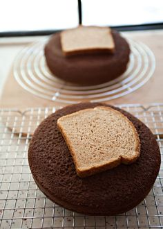 good to know} When cooling cake layers, place bread slices on top to keep the cake layers soft and moist while the bread becomes hard as a rock -- What a fun fact!!! did not know this