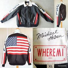 MICHAEL HOBAN WHEREMI bomber biker JACKET leather FLAG red white blue BLACK XL $179.99   SOLD!