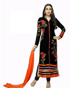 0b940c8c2f Women s Clothing - Party Wear Black Designer Salwar Suit - Black Rose suite  - PRODUCT Details : Style : Semi-stitched Staright, &n