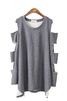 Irregular Hemline Cut Out Sleeve Loose Sweatshirt OASAP.com