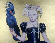 Saatchi Online Artist Titti Garelli; Painting, White Orchid and the Black Cockatoo #art