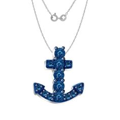 1/12ct Blue Diamond Sterling Silver Anchor Pendant w/ chain MSRP $1200 New