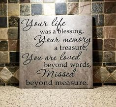 In Loving Memory Gift- Your life was a blessing- In loving Memory Gift – Remembrance Gift-Loss of a Loved One-Sympathy Gift -Loss of a child In Loving Memory Gift Your life was a blessing Loss of a In Loving Memory Quotes, In Loving Memory Gifts, In Memory Of, In Loving Memory Tattoos, Memory Wall, Memory Frame, Loss Of Loved One, Memorial Gifts, Memorial Ideas