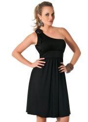 vestido preto modelo de um ombro só