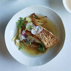 Red Snapper with Korean Miso Vinaigrette |  The zesty dressing for these crisp snapper fillets adds funky depth and a pop of acidity.