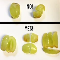 Cut grapes lengthwise or into quarters!