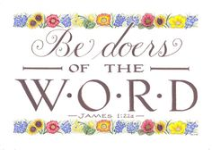 "Hand Lettered Calligraphy Print - ""James 1:22"" - Christian décor -Scripture…"