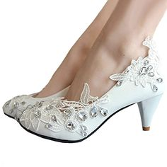 43f43888f11b getmorebeauty Women s Kitten Heel Lace Pearls Glitter Wedding Shoes. Flower  Kitten Pump