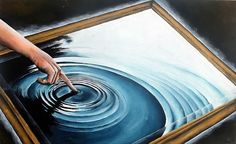 In this surrealist NCEA painting, a mirror surface becomes ripples in water: further exploration of frames within frames and the contrast of curving and linear form. Reminiscent of the 'butterfly effect', this painting reminds us how a single action can have far reaching consequences, with ripples fanning out from a single fingertip. With strong contrasts between light and dark, and a clear focal point to the image, this is a painting that commands attention.
