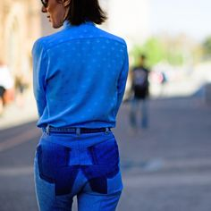 +-+Embrace+head-to-toe+blue+hues+by+teaming+a+polished+blouse+with+up-cycled+denim.