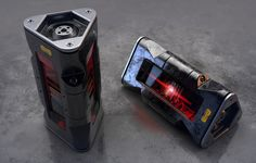 Tech Cannister II, John Seymour on ArtStation at… Sci Fi Weapons, Weapon Concept Art, Fantasy Weapons, Futuristic Art, Futuristic Technology, Technology Gadgets, Science Fiction, Prop Design, Game Design