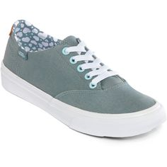 Vans Winston Decon Lace-Up Sneakers ($45) ❤ liked on Polyvore featuring shoes, sneakers, rubber sole shoes, green shoes, green canvas shoes, vans shoes and canvas sneakers