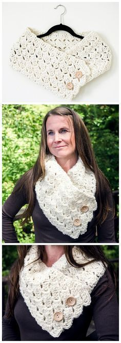 Cross Hatch Button-Up Cowl Crochet Pattern - This free crochet cowl is the perfect pattern for the beginner or more experienced crocheter. It is super easy and quick to make. Make one for yourself and then make more for the special people in your life! #shrugsandcowls #makeupforbeginners