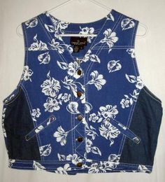 "Carole Little Blue Floral Denim Vest Fits up to 44""Bust Size Large Free Shipping Price:US $12.99"