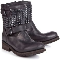Ash Studded biker boots ($400) ❤ liked on Polyvore featuring shoes, boots, botas, chaussures, zapatos, engineer boots, leather upper boots, motorcycle boots, mid calf leather boots and studded leather boots