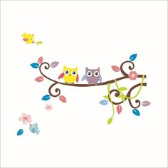 Owls on tree wall stickers for kids room