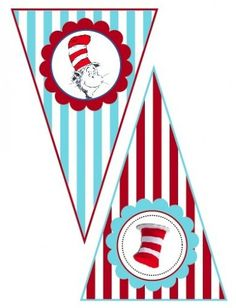 """Dr. Seuss """"Cat in the Hat"""" and """"Thing 1 & Thing 2""""- printable banner…"""