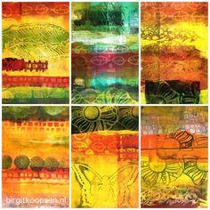 Les {Tutos} : combinez dies et gelli plate - Birgit Gelli Plate Printing, Stamp Printing, Stencil Diy, Stencil Painting, Stencils, Mixed Media Collage, Collage Art, Etching Prints, Gelli Arts