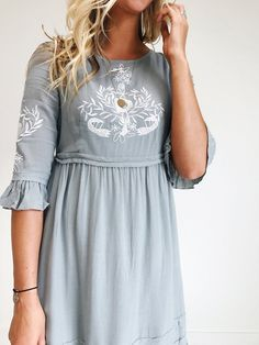 Embroidered Dress with Bell Sleeves Modest Dresses, Modest Outfits, Cute Dresses, Casual Dresses, Skirt Outfits, Fashion Mode, Modest Fashion, Dress Fashion, Floral Fashion