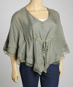Take a look at this Olive Lace-Trim Drawstring Top - Plus by Simply Irresistible on #zulily today!