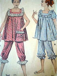 Vintage 1950s Butterick Sewing Pattern Pyjamas Bloomers Nightdress Frill Bust 32