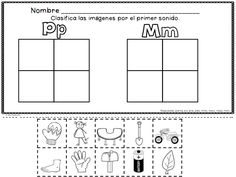 Spanish Alphabet Resources for the letter P and the syllables pa, pe, pi, po, pu  Fichas para la letra p y las silabas pa, pe, pi, po, pu. Una hoja compara los sonidos de m con p.