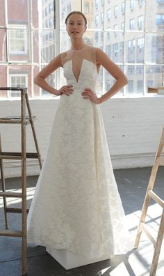 White ballgown with plunging neckline and details throughout   Lela Rose Spring 2017   https://www.theknot.com/content/lela-rose-wedding-dresses-bridal-fashion-week-spring-2017