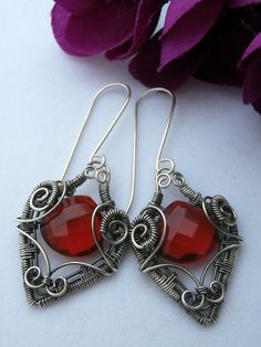 SOLD! Wire Wrapped Earrings AAA Ruby Red Crystal by PerfectlyTwisted