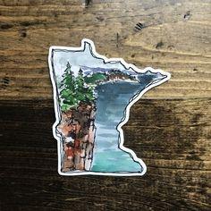 Vinyl Sticker, Minnesota Outline of Palisade Head — art by sj nielsen Minnesota Outline, Minnesota Tattoo, Minnesota Funny, Minnesota Vikings, Palisade Head, Silver Bay, Tattoo Outline, Outline Art, Iphone Wallpaper Vsco