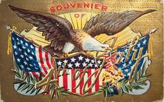 Picture of beautiful USA partiotic holiday greeting card with an eagle with firecrackers exploding above American flag banners on a lovely gold field the text reads souvenier of 4th of July; click for the larger file of this lovely golden vintage 4th of July postcard.