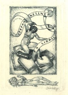 Bookplate by Jozsef Diveky for Stefan Kellner, 1918