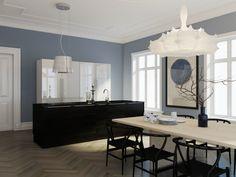 Sort kjøkken minimalistisk åpen løsning