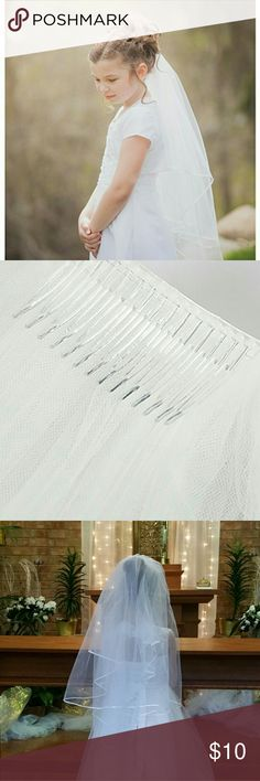 New!! Belle House First Communion/Wedding  Veil Pretty white communion veil with ribbon edge comb. Made of 100%   quality light weight soft tulle. Double sided satin edge (4 mm wide) and beautiful design. It has 2 layers , one is 24 in and the other other is 32 in long. Weight=4.8 oz. New and in original packaging. Offers are all welcome.  *No modelling *No trades Belle House Accessories Hair Accessories