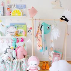 Such a cute room by kids design life featuring ombré felt flamingoes from the secret craft house as well as unicorns! Love it. #feltflaminges #flamingoes #girlsroom #nursery #design #cute #pastel #pastelnursery #unicorn