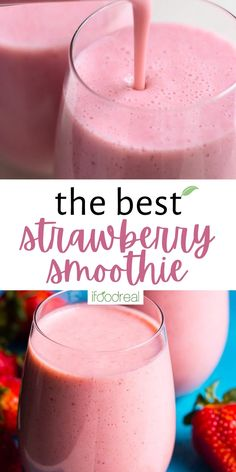 Healthy Strawberry Smoothie Recipe with frozen strawberries, banana and without yogurt. It is easy for kids to make and tastes delicious. Simply the best! Strawberry Smoothie Recipe With Almond Milk, Frozen Strawberry Recipes, Frozen Strawberries, Clean Recipes, Fall Recipes, Snack Recipes, Smoothie Recipes, Smoothies, 4 Ingredient Recipes