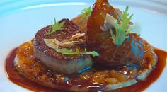 Quail and foie gras with dried apricot and fig chutney