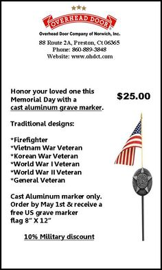 Memorial day grave marker coupon.