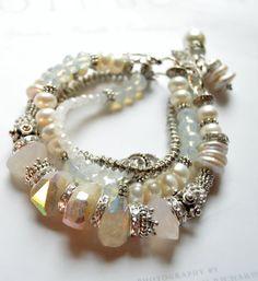 ON SALE peruvian opal bracelet, pearl bracelet, moonstone bracelet, artisan bracelet, wedding bracelet, multi strand bracelet