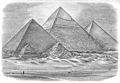 """Black and White stipple illustration created for The Art of Demotivation - Chapter heading: Achievement.- """"You can do anything you set you mind to when you have vision, determination, and an endless supply of expendable labor. Lion Tattoo Sleeves, Nature Tattoo Sleeve, Egyptian Drawings, Egyptian Art, Ancient Egyptian Architecture, Historical Architecture, Egypt Tattoo Design, Pyramid Tattoo, Egyptian Tattoo Sleeve"""