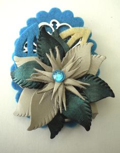 Leather flower brooch by KirasHandmade on Etsy, €12.00