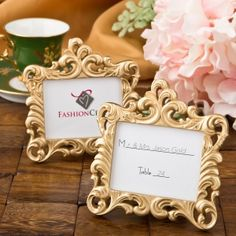 Gold Baroque Style Place Card Frame Favor (FashionCraft 8386) | Buy at Wedding Favors Unlimited (https://www.weddingfavorsunlimited.com/gold_baroque_style_frame_favor.html).