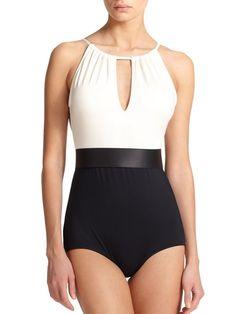 Carmen Marc Valvo One-Piece High-Neck Pleated Swimsuit
