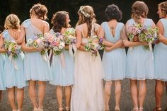 Light blue bridesmaid dresses by Anne Taylor // Twigss Floral Studio // Danielle Capito Photography // http://www.theknot.com/submit-your-wedding/photo/28956d1d-f61e-4fa9-bf20-31ea5e1b6730/Anne-and-Timmy
