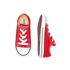 Little Chuck Taylor All Star Red Converse Trainers (EU 23-27) (110 BRL) ❤ liked on Polyvore featuring shoes, sneakers, converse sneakers, converse footwear, red trainers, star sneakers and red shoes