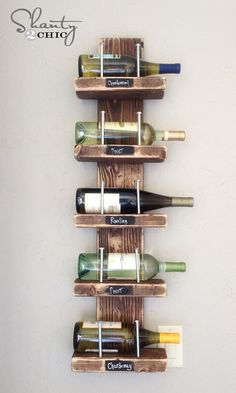 DIY $15 Wine Rack - With just a few supplies from the hardware store, Ash and I created a fun, rustic chic wine rack for under $15. We LOVE how it turned out! Y…